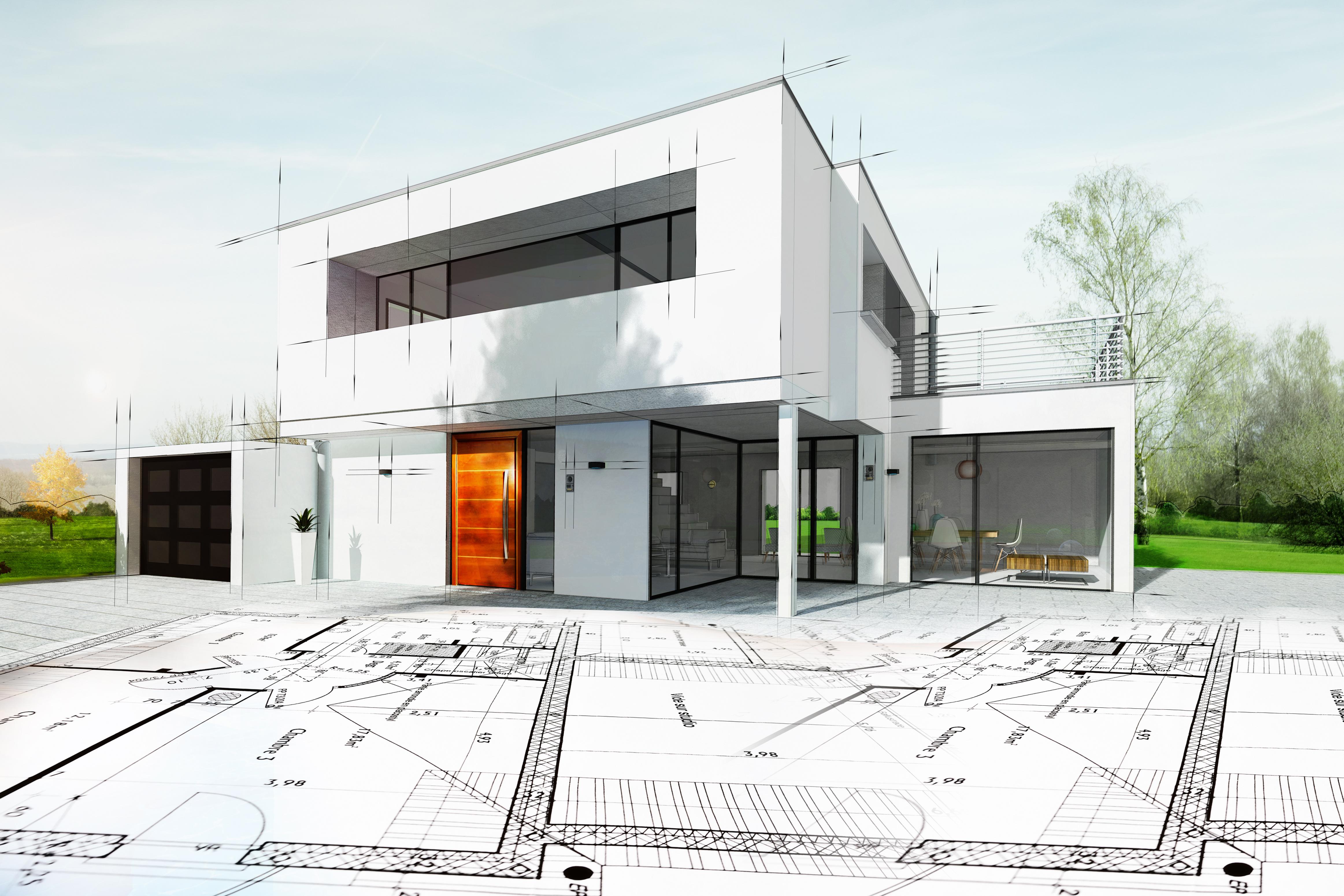 Dessin d'une maison d'architecte avec plan